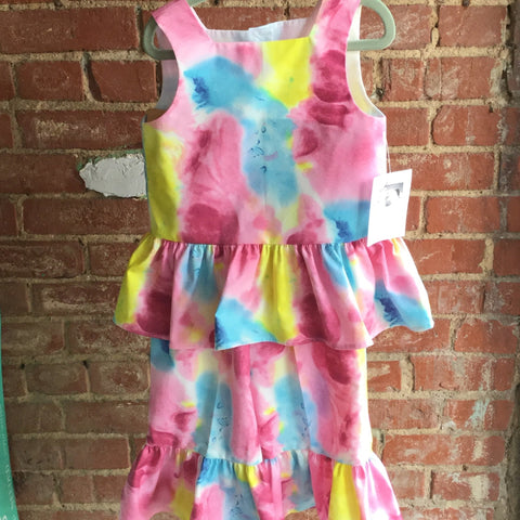 Girl's watercolor pant and ruffle top