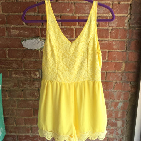 Sunshine Yellow Lace Sleeveless Romper