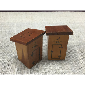 "Vintage Decorative Wooden ""Ma"" and ""Pa"" Outhouse Salt and Pepper Shakers"