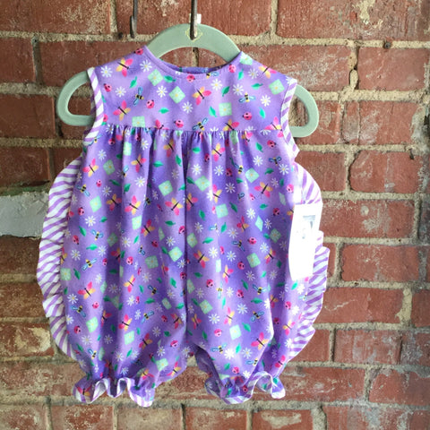 Little Girl Purple Garden Romper