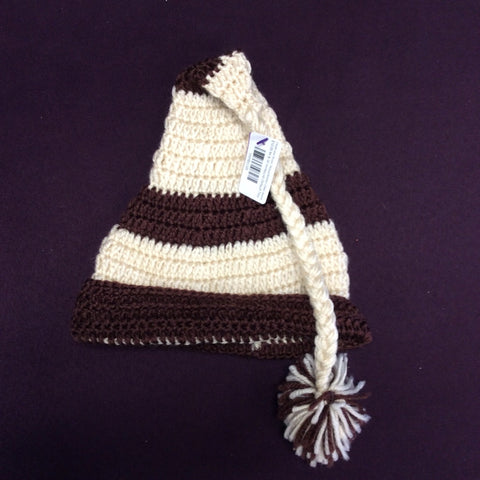 Cream and Brown Striped Knitted Childs Beanie