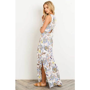 04f37fd271 Gilli Multicolor Vibrant Floral Print Sleeveless Maxi Dress with Lace Up  Back