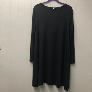 Black Long Sleeve Dress with Side Pockets