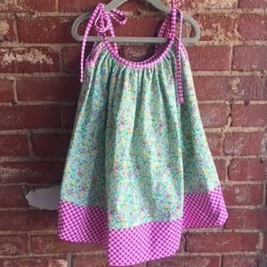 Girl's green floral dress and bloomer