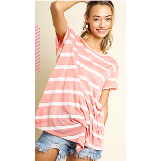 Peach and white stripe top with knot