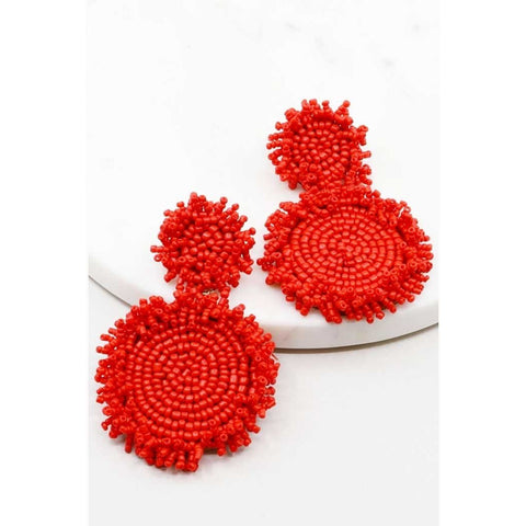 Red Seed Beaded Statement Earrings