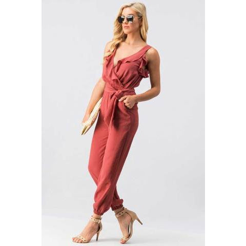 Rose Ruffle Surplice Sleeveless Jumpsuit with Tie Waist and Banded Ankle