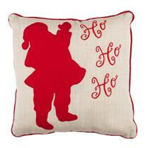 Santa Silhouette and Ho Ho Ho Christmas Pillow