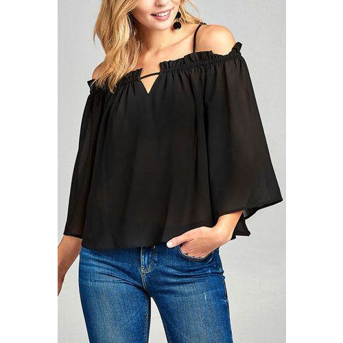Black Bell Sleeve Open Shoulder Chiffon Woven Top
