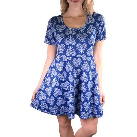Ladies Fashion Blue and White Plus Size Knit Dress