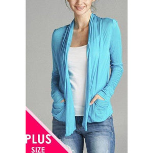 Ladies Fashion Plus Size Flyaway Cardigan With Side Pockets