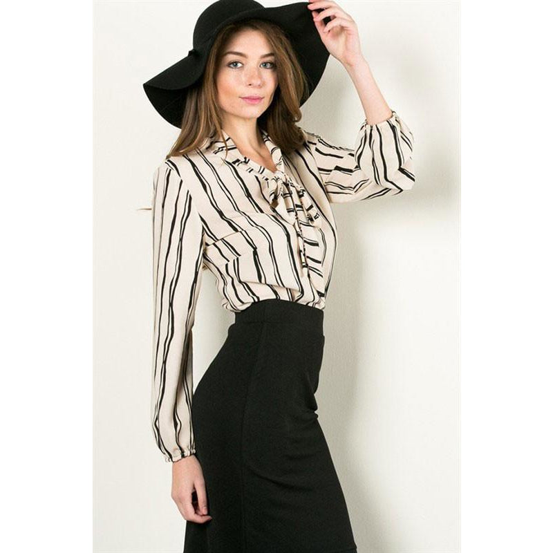 Taupe Black Lined Tie Neck Blouse