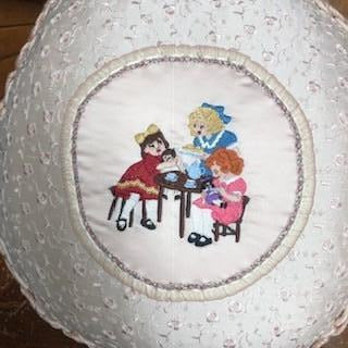 Handmade Satin and Gross Grain Ribbon Accented Pillow with Embroidered Picture