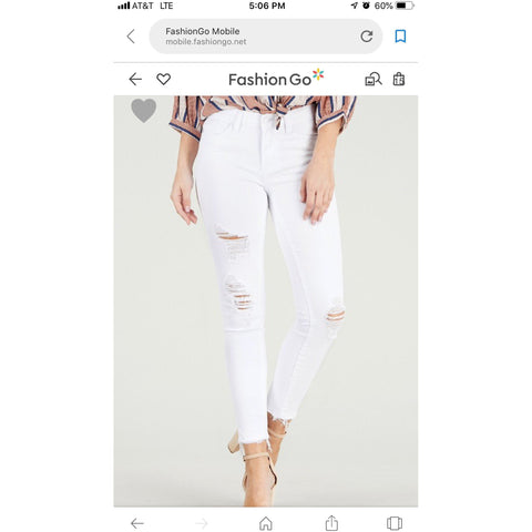 Judy Blue White Distressed Jeans