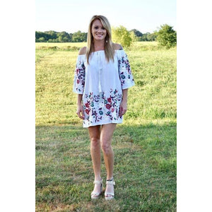 Embrodiered White Floral Dress