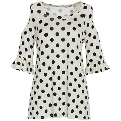 Polka Dot 3/4 Bell Sleeve Cold Shoulder Raglan Top