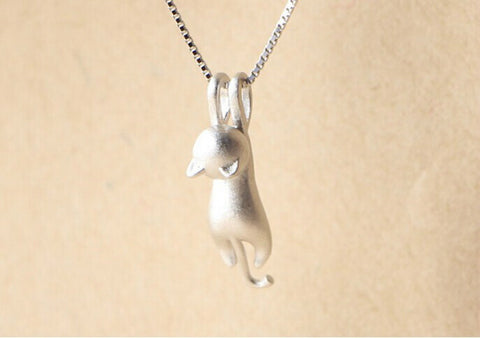 Beautiful 925 Sterling Silver Cat Pendant Necklace