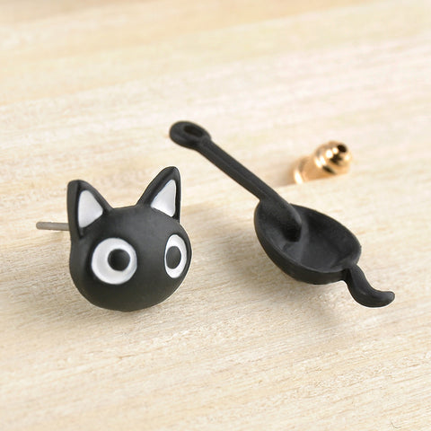 Cute Hanging Kitten / Cat Stud Earrings