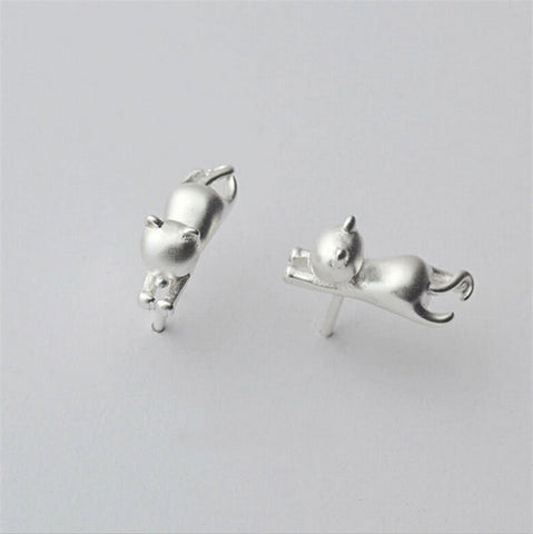 Elegant Silver Stud Hanging Cat Earrings