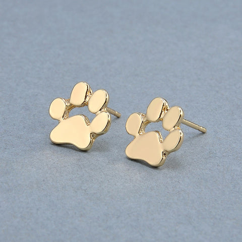 Cute Cat and Dog Paw Stud Earrings - Silver & Gold