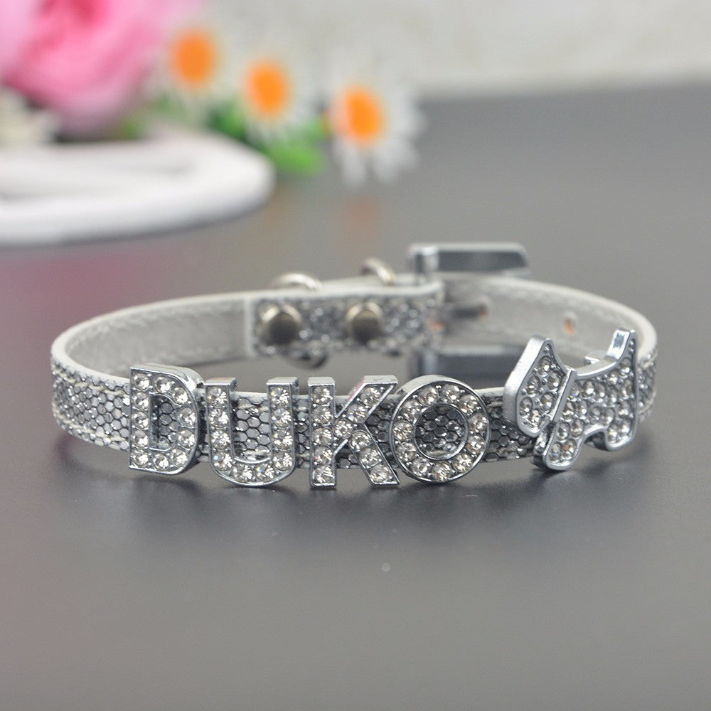 Glamorous Adjustable Leather Personalized Name Pet Collar with 5 Letters &  2 Charms