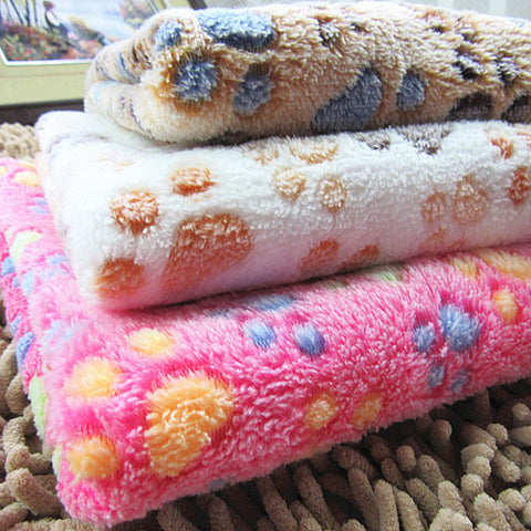 Super Soft Pet Puppy, Dog, Kitten & Cat Fleece Bed Blanket - Small to Large Pets PAW PRINT
