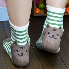 Beautiful and Comfy Striped Cartoon Cat Socks for Women & Kids
