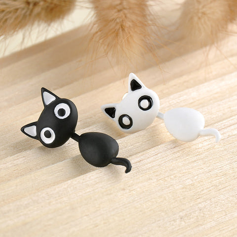 Cute Hanging Kitten / Cat Stud Earrings Black White