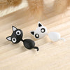 Image of Cute Hanging Kitten / Cat Stud Earrings Black White