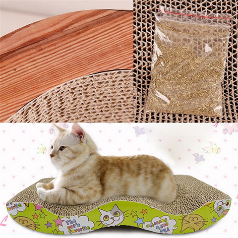 Corrugated Scratch Board Toy with Catnip for Cats & Kittens - FOURPAWPALS
