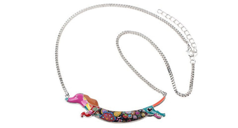 Stylish & Fun Bonsny Dashing Dachshund Dog Pendant Necklace - FOURPAWPALS