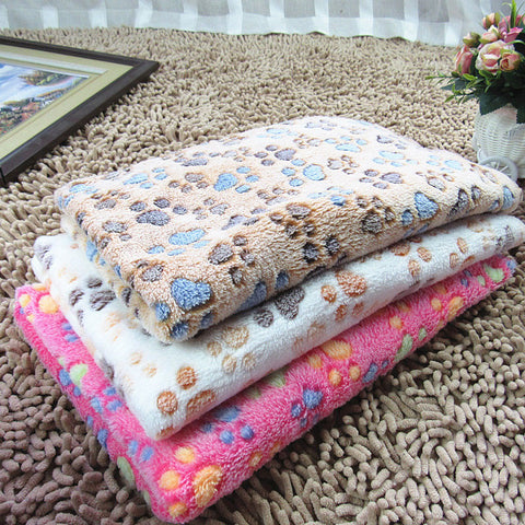Super Soft Pet Puppy, Dog, Kitten & Cat Paw Print Fleece Bed Blanket - Small to Large Pets - FOURPAWPALS