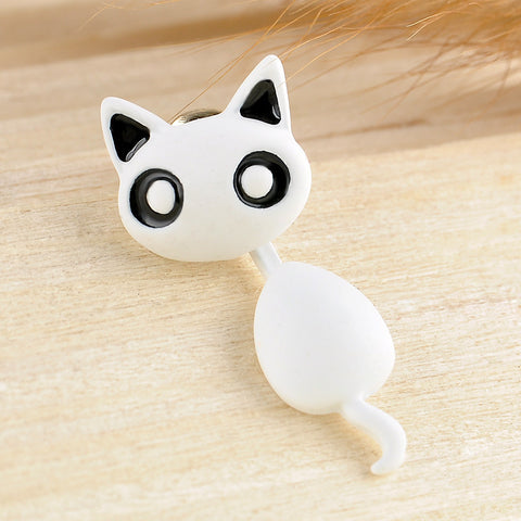 Cute Hanging Kitten / Cat Stud Earrings White