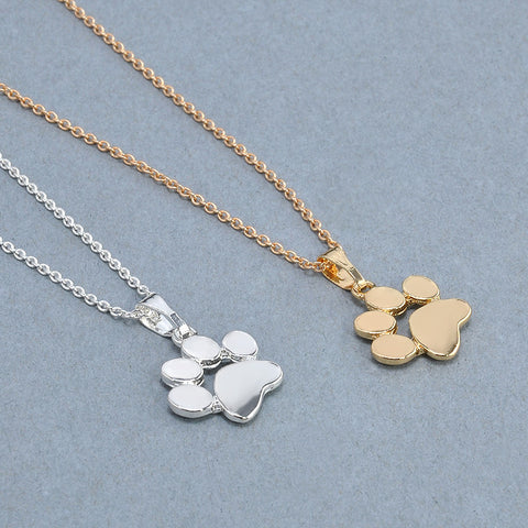 Stylish Footprints Dog and Puppy Paw Pendant Necklace