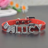 Image of Glamorous Adjustable Leather Personalized Name Pet Collar with 5 Letters & 2 Charms - FOURPAWPALS