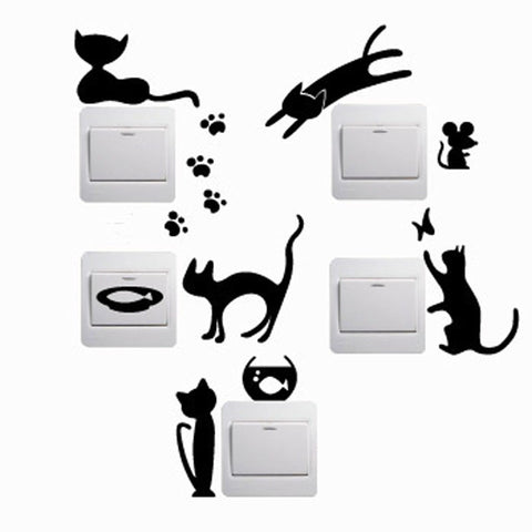 1 Set of 5 piece Removable Cute Lovely Black Cat & Kitten Switch Wall Stickers - Home Decor - FOURPAWPALS