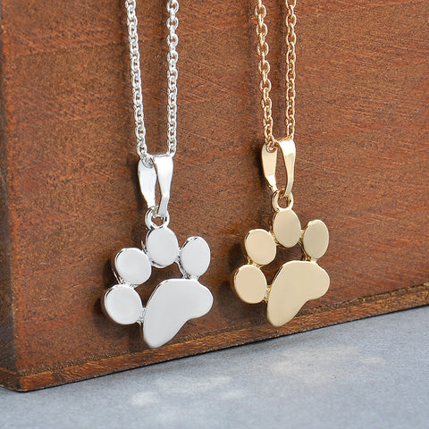 Stylish Footprints Dog and Puppy Paw Pendant Necklace - FOURPAWPALS