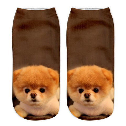 Cute 3D Printed Casual Socks with Gorgeous Dog and Puppy Designs - FOURPAWPALS
