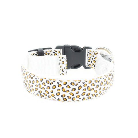 Stylish Adjustable Pet Glow LED Flashing Light Leopard Print Collar Sizes S-XL - for Dogs, Puppies, Cats & Kittens - FOURPAWPALS