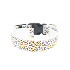 Stylish Adjustable Pet Glow LED Flashing Light Leopard Print Collar Sizes S-XL - for Dogs, Puppies, Cats & Kittens