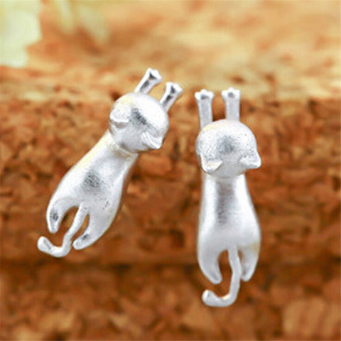 Elegant Silver Stud Hanging Cat Earrings - FOURPAWPALS