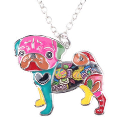 Stylish & Fun Bonsny Pug Dog Pendant Necklace