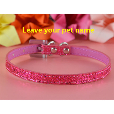 Glamorous Adjustable Leather Personalized Name Pet Collar with 5 Letters & 2 Charms - FOURPAWPALS
