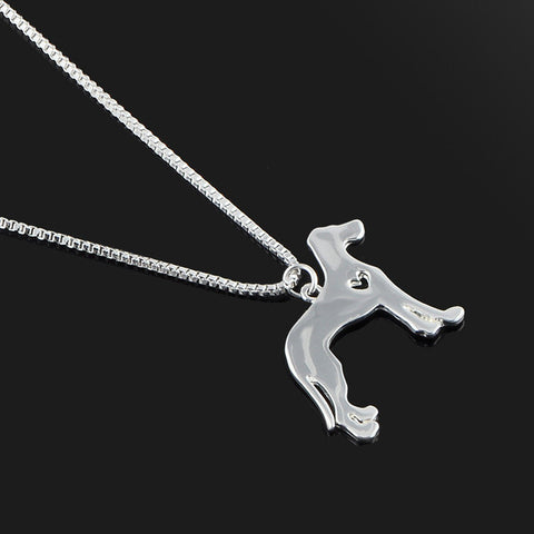 Cute & Stylish Dog Family Stroll Design Pendant Necklace - Different Breed Designs Greyhound Whippet