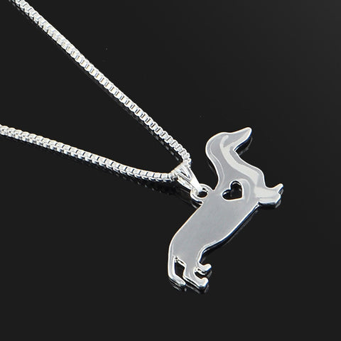 Cute & Stylish Dog Family Stroll Design Pendant Necklace - Different Breed Designs Daschund Sausage Dog