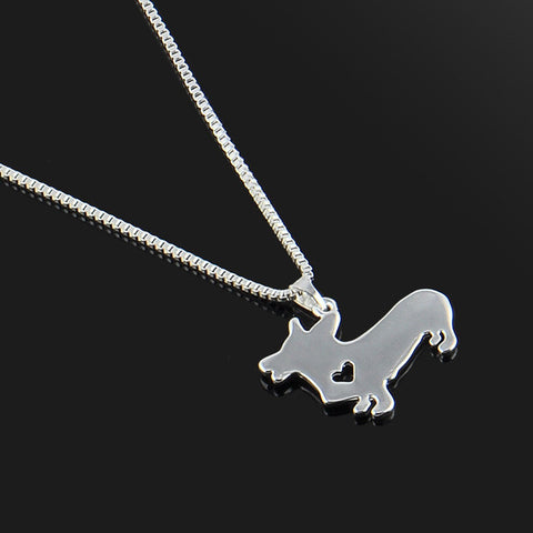 Cute & Stylish Dog Family Stroll Design Pendant Necklace - Different Breed Designs Corgi