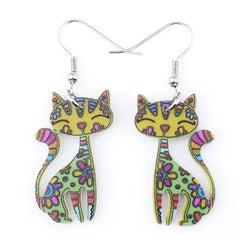 Fun Fashion Drop Floral Cat Dangle Earrings
