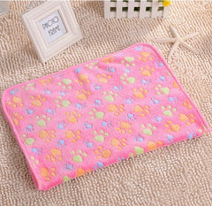 Super Soft Pet Puppy, Dog, Kitten & Cat Paw Print Fleece Bed Blanket - Small to Large Pets
