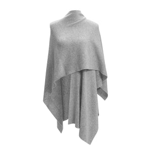 Grey Cashmere Ribbed Poncho Cape