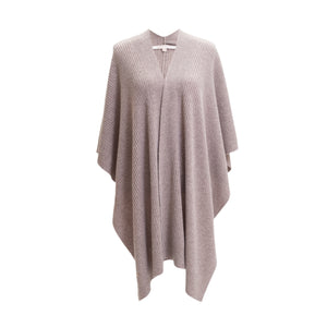 Brown Cashmere Ribbed Poncho Cape